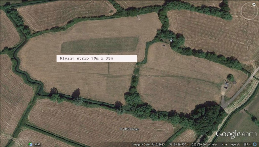 Double click on the image to enlarge. Our flying strip is approximately 70m x 35m. Copyright Google Earth